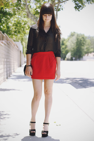 black polka dot blouse - red skirt - black heels