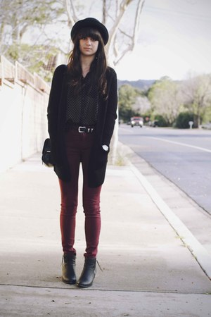 maroon jeans - black boots - black polka dot shirt - black H&M cardigan