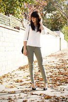 white sweater - black pumps - olive green cargo pants