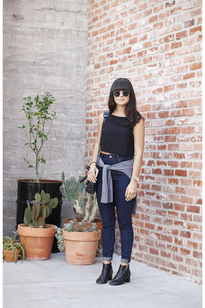 black ankle boots acne boots - navy high waisted Zara jeans