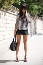 black leather shorts - ivory striped blouse - black heels