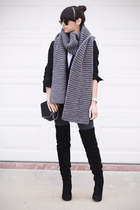 heather gray knitted Wool and the Gang scarf - black thigh high Zara boots
