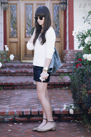 gold studded flats - army green jacket - white sweater - black leather skirt