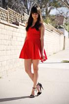 red dress - black heels
