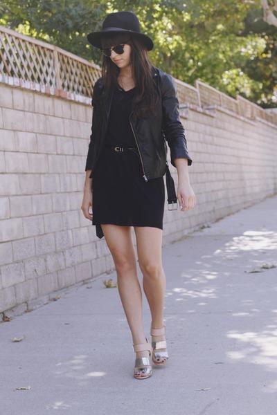 black dress - black hat - black leather jacket - silver two toned heels