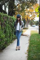 gray bomber Isabel Marant jacket - navy beanie Zara hat