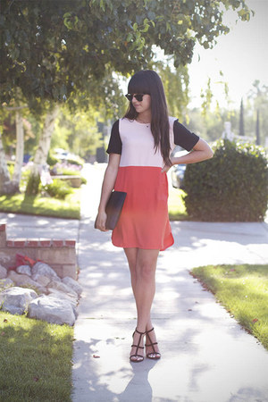 red color block dress - black heels