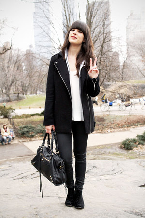black velvet boots - black coat - heather gray hoodie - black coated pants