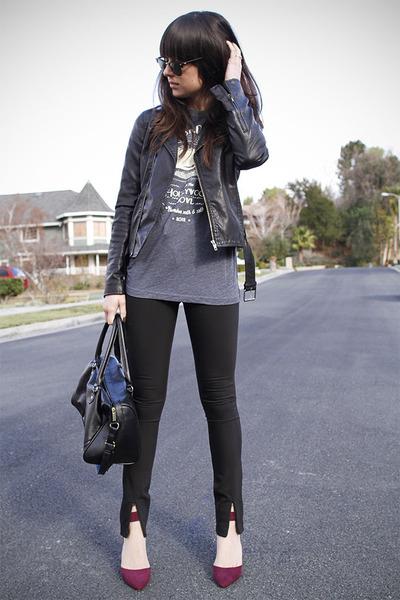 magenta heels - black front slit pants