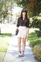 black polka dot Forever 21 blouse - neutral H&M skirt - black Nicholas heels