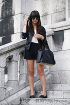 black jacket - black high waisted shorts - white top - black cat flats