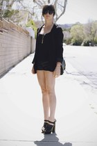 black blazer - black leather shorts - black heels