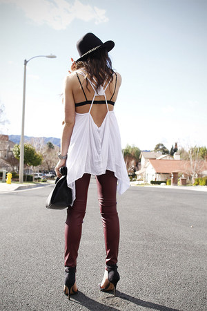 white top - black bag - crimson leather pants
