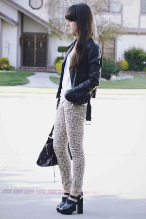 black leather jacket - tan leopard print jeans - white u back tank shirt