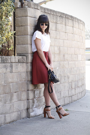 brick red Zara skirt
