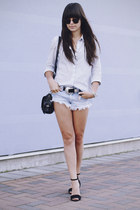 sky blue stripes shirt - sky blue shorts - black heels - black belt