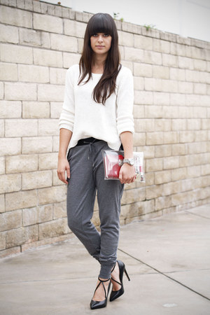white sweater - heather gray leather trim pants - black strappy pumps