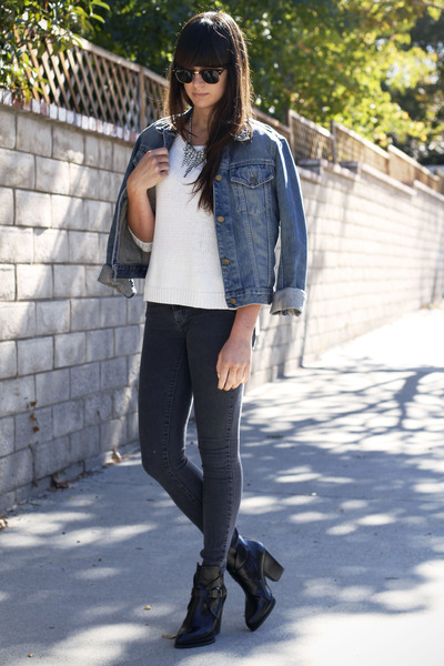 blue jean jacket - black ankle strap boots - charcoal gray Car Mar jeans