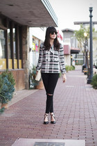 ivory tartan Zara coat - black destroyed Cheap Monday jeans