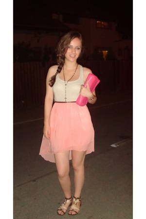 light pink Bershka dress - bubble gum christhelen b bag - brown Bershka belt