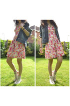 hot pink red herring dress - blue denim Timberland jacket