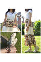 brown peasant  skirt - white basic Esprit t-shirt - eggshell Topshop belt
