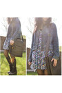 Dark-brown-clarks-boots-navy-floral-cotton-new-look-dress