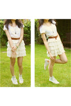 eggshell lace tiered next skirt - brown leather  belt - brown  necklace
