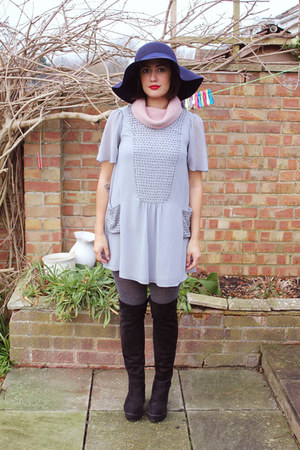 navy Primark hat - black Ebay boots - heather gray charity shop dress