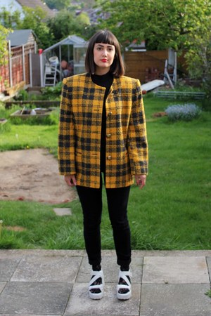 gold checks charity shop jacket - black denim Primark jeans