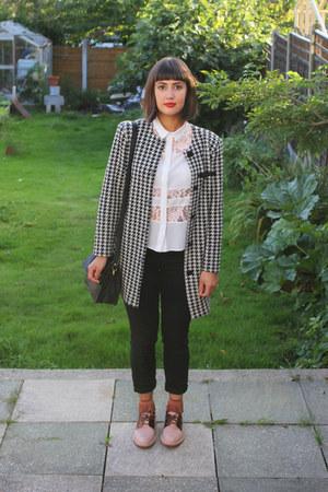 light pink Miista shoes - black dogtooth charity shop jacket