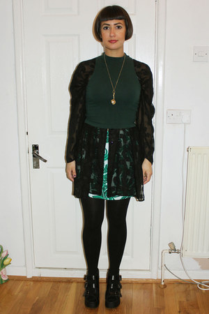 black sheer charity shop shirt - dark green turtleneck Topshop top