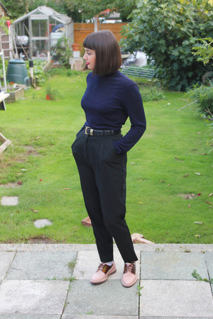 black high waisted River Island pants - navy turtleneck charity shop top