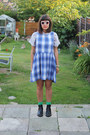 Black-urban-outfitters-boots-blue-checks-topshop-dress