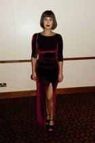 black suede platform new look heels - crimson Boohoo dress