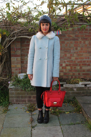 light blue Miss Selfridge coat - black leather chunky vagabond boots