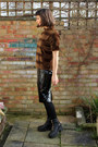 Black-leather-zips-vagabond-boots-camel-sheepskin-charity-shop-coat