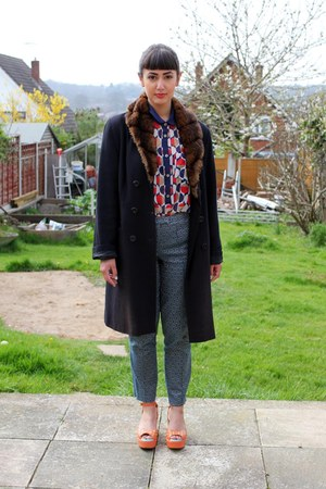 navy prints Primark dress - navy faux fur charity shop coat