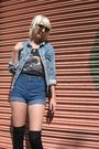 Blue-levis-jacket-black-harley-davidson-top-blue-dittos-shorts-black-urban