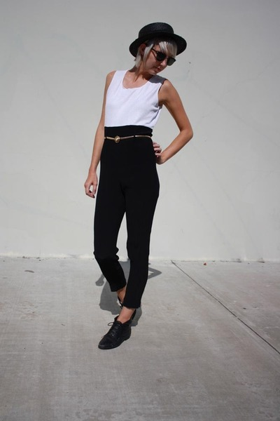 white vintage top - black vintage pants - black vintage shoes - black obey hat -
