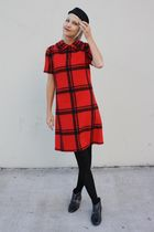 black vintage boots - red plaid shift vintage dress - black H&M hat