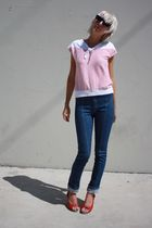 white vintage top - blue Judi Rosen jeans - red C Ronson shoes - blue Forever 21