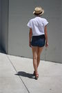 Beige-bdg-hat-white-judy-bond-top-blue-sears-shorts-red-c-ronson-shoes
