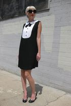 black Marc Jacobs shoes - black mod tuxedo vintage from Castaway Vintage dress