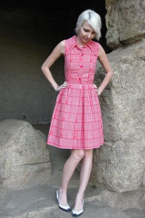 red sears dress - white vintage shoes
