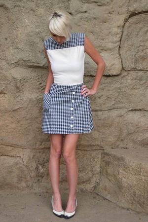 blue Vintage from Castaway Vintage on Etsy dress - white vintage shoes