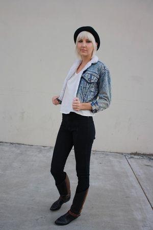 black vintage Bandolino boots - black Judi Rosen jeans - black vintage hat - blu