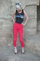 black harley top - red Bongo jeans - black Street sunglasses - black Polly shoes