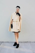 black Forever 21 shoes - black vintage dress - cream belted cape vintage coat -