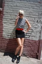 white vintage from Castaway Vintage top - black H&M skirt - red H&M belt - black